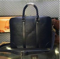 Borsa a tracolla in vera pelle nera con plaid nero in pelle nera PORTE-DOCUMENTS VOYAGE N41478