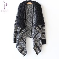 Wholesale Ladies Cape Style Coats - Wholesale-CMXCIX Winter Women Sweater Cardigan Big Turn-Down Collar Cardigan Capes European and American Style Ladies Sweater Coat Outwear
