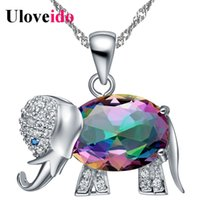 Wholesale Dhgate Girls - 45% Off Collier Rainbow Color Elephant Pendant Necklace Choker Sale Silver Chain Necklaces Cute Gifts For Girls dhgate N1154
