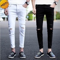 Wholesale teenagers jeans - New 2017 Fashion Teenager Hip Hop Boys Street City Casual Jeans Knee Distressed Hole Ankle-Length Pants Harem Slim Fit trousers