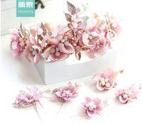 Wholesale Crowns Tiara S - In 2017 the new DG Baroque Crown Princess Bride sweet flower crystal crown Earrings hairpins jewelry wholesale Korean Baroque wedding band s