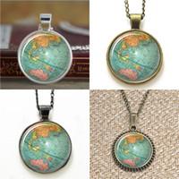 Wholesale Vintage Art Glass Bracelet - 10pcs Vintage Globe Planet Earth World Map Art Necklace keyring bookmark cufflink earring bracelet
