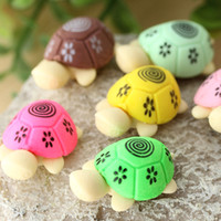 Wholesale eraser turtles for sale - Group buy pair Cute Turtle Rubber Pencil Eraser Set Various Color Stationery Student Rewards Gift