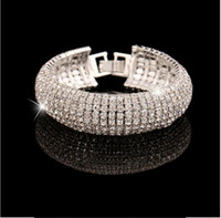 Wholesale Cheap Rhinestone Stretch Rings - 2017 New Arrival Luxury Rhinestones Stretch Bangle Wedding Bracelets Bridal Jewelry Cheap Crystals Bracelet For Bride Evening Prom Party
