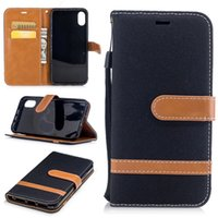 Wholesale Fabric Covered Clips - Case For iphone X Case Cover Wallet denim fabric Flip leather case Cover For iphone8 Back Cover Capa With Card Slots