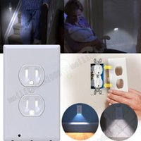 Wholesale Wholesale Wall Switch Cover - 2017 NEW Plug Cover LED Night light Wall Outlet Face Hallway Bedroom Bathroom Safty Light hot new arrival free shipping MYY