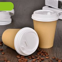 Wholesale paper coffee cups wholesale - Wholesale- 12oz Kraft Paper Coffee Cup Fashion Cafe Disposable Milk Yogurt Drink Cup Festival Drinkware Promotion 100pcs lot SK751