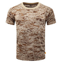 Wholesale Sport T Shirt Camo - New Outdoor Hunting Camouflage T-shirt Men Breathable Army Tactical Combat T Shirt Military Dry Sport Camo Camp Tees-ACU Green