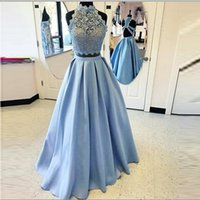 Wholesale Two Piece Evening Wear Tops - Light Blue Two Pieces Dresses Party Evening Wear Lace Top Sheer A Line Satin Skirt Cheap Prom Dress Sexy Back Formal Homecoming Dress