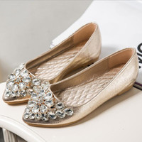 Mulheres Flats Sapatos Ladies Ballet Sapatos PU Leather Casual Sapatos Crystal Boat Ouro Sliver Cor Rhinestone Mulheres Loafers