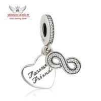 Wholesale Infinity Friends Bracelet - Memnon Jewelry 925 Sterling Silver Infinity Sign Forever Friends Heart Pendant Charms Beads For Jewelry Making Fit brand Bracelets DIY DA179