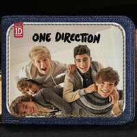 Wholesale 1d Cartoon - One Direction wallet 1D group purse Leisure music short cash note case Money notecase Leather burse bag Card holders