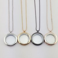 Wholesale Heart Locket Photo Frame Necklace - Glass Locket Necklace Can Be Opened to Put Photo Memory Pendant Charming Ladies Round Frame Necklace Jewelry Accessory Wholesale