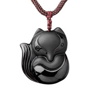 Wholesale Hand Carved Necklace - Hand carved natural Obsidian stone fox good luck pendant necklace