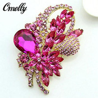 Wholesale Wholesale Cheap Rhinestone Buckles - Large Size Colorful Rhinestone Champagne Crystal Brooch Peacock Scarf Buckle Wedding Bouquet Brooches Pin Wholesale Cheap Price New Design