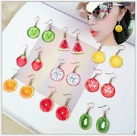 Wholesale Fresh Pineapples - Hot sell creative fruit earrings Pineapple Watermelon Strawberry earrings fresh fish hook fruit earrings Free Shipping