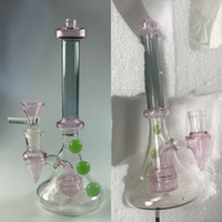 Wholesale Pink Tyre - Pink Tyre Percolator Glass Bongs 100% Real Images Glass Water Pipes Two Fuction Dab Rigs Smoking Bong Mini Recycler Hookah Pipes Cheap