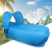 Semirectangular outdoor portable canopy - Outdoor Inflatable Sleep Bag Lounger Portable Chair Waterproof Sleeping Couch Indoor Air Sofa Sleeping Bags With Sun Canopy Visor