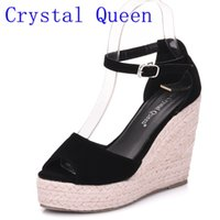 Wholesale Roman Wedge Sandals Fashion - Crystal Queen Women Espadrille Wedges Sandals Roman Bohemian Womens High Heels Open Toe Sandals Ankle Strap Cross-tied Shoes