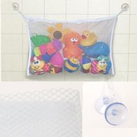 Wholesale Fold Shower - Wholesale- Folding Baby Bathroom Hanging Mesh Bath Toy Storage Bag Net Suction Cup Baskets Shower Toy Organiser Bags EJ675803