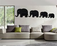 Wholesale Mirror Wall Elephant - Creative DIY Children room mirror paste wall sticker Elephant hippopotamus gold black Removable Decorating art Sticker Decor 2017 Wholesale