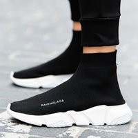 Wholesale Ankle Toe Socks Women - Superstar Men Women Shoes Fashion Stretch Fabric High Top Breathable Slip On Socks Shoes Ankle boot Flat Casual Shoes Zapatos