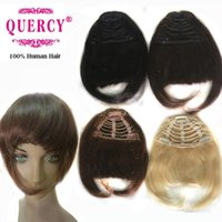 """Wholesale Clip Fringe 1b - Human hair bangs for women with 3 clips Indian Peruvian Malaysian virgin human hair fringes 6*8"""" straight #1B #4#8#60 40% off Quercy Hair"""