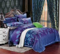 Wholesale Satin Egyptian Cotton Duvet Sets - Egyptian cotton blue purple satin bedding set king queen size quilt duvet cover sheets bedspread bed in a bag bedroom linen 4pcs