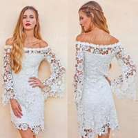 Wholesale Gold Crochet Dress - Bell Sleeves Crochet Lace Boho Hippie Wedding Dress Off shoulder Vintage Inspired 70s Style Short Reception Wedding Dresses 2017 BA5083