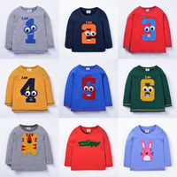 Moda Baby Boys Girls Digital Number Animal rayado manga larga camiseta otoño Cartoon Tops impresos