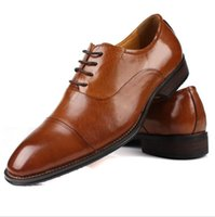 Wholesale Low Heel Mens Dress Shoe - Fashion Italian designer formal mens dress shoes genuine leather black luxury wedding male shoes office