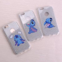 Wholesale Stich Cases - Cute Glitter Bling Bling Stich Funny Play Lover Love Cartoon Soft Phone Fundas Coque For iPhone 7 7Plus 6 6S 6Plus