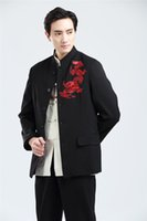 Wholesale Shanghai Story Long Sleeve Chinese Traditional clothing Chinese Button Men s Red Dragon embroidery mandarin collar Jacket for men
