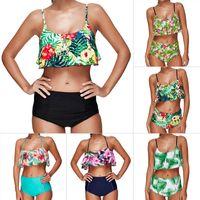 Wholesale Swim Suit Padded - High Waist Swimsuit Women Push Up Bikini 2018 Ruffle Plus Size Swimwear Female Padded Bikini Set Biquini Bathing Suit Swim Suit