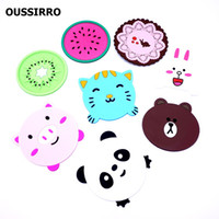 Wholesale lace cup holders - Wholesale- Multiple Cute Silicone Table Cup mat Drink Coaster Placemat Cup holder Coffee Pad Fruit Cartoon Animal Lace 4 Style
