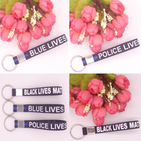 Wholesale Police Car Digital - Soft Silicone Keychain Wristband Keyring Keychain Simple Blue Black Police Bracelets Key Chain Thin Matter Wristband C74L