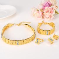 chokers de ouro de 14k venda por atacado-14k sólido grosso ouro amarelo cheio CZ vermelho verde azul etíope conjuntos de jóias Gargantilhas colar / brincos / anel / pulseira conjunto de casamento pesado Wide