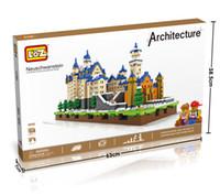 Wholesale Toy Castles For Children - LOZ Diamond Blocks Neuschwanstein With Led DIY Building Toys Swan Stone Castle World Building Educational Blocks for Children Gifts 9049