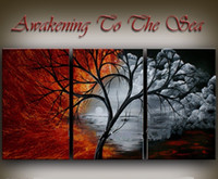 Wholesale Large Wall Art Contemporary Landscape - Framed 3PCS Large landscape artwork,Hand Painted Contemporary Abstract red and black Wall Decor Art Oil Painting On Canvas.Multi sizes Ab073