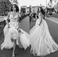 Wholesale Open Back Crystal Wedding Dress - tulle skirt romantic sexy wedding dresses 2018 liz martinez bridal sleeveless v neck ruched bodice embellished bodice open back chapel train