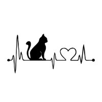 Wholesale Automotive Cartoons - 1pcs Personalized Cartoon Car Stickers Music Cat Car Decals 26.5cm*12cm Electrocardiogram Cat Car Stickers Automotive Pasters Decoration