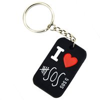 Wholesale Silicone Love Ring - Wholesale 50PCS Lot I Love 5 Seconds Of Summer Silicon Dog Tag Keychain 5SOS Key Ring