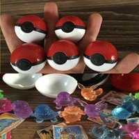 Barato Figuras De Brinquedos De Plástico Em Massa-144 pcs / lot Pokeball com Crystal Pet Figuras de ação Mega Bulk Pikachu Stickers Plastic Game Ball Kid Gift Toy
