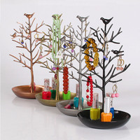 Wholesale Metal Display Tree Wholesale - Fashion Bird Tree Stand Jewelry Earring Necklace Ring Show Rack Holder Display jewelry holder