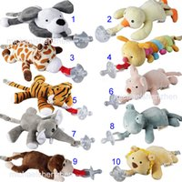 Wholesale Newborn Products - 10 Style New silicone animal pacifier with plush toy baby giraffe elephant nipple kids newborn toddler kids Products include pacifiers B001