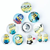Wholesale People Charms - 20PCS New Cartoon Little Yellow People Glass Snap Button For 18mm Ginger Snap Buttons Alloy Bracelet Necklace Jewelry