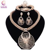 Wholesale 18k bracelet dubai online - Fashion Nigerian Beads Wedding Jewelry Set Bridal Dubai Gold Color Crystal Necklace Earring Sets African Beads Jewelry Set