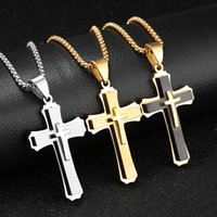 Wholesale Ethnic Crosses - Gold   Steel Gothic Ethnic Men Cross Pendant Necklace Stainless Steel Statement Bib Necklaces Christmas Gift Jewelry for Boyfriend