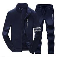 Wholesale Tracksuit Men Plus Size - Plus Size Mens Sweat Suits Zipper Sweatshirts Jackets+Pants Jogger Sporting Suits Mens Tracksuit Sets Sudaderas Hombre