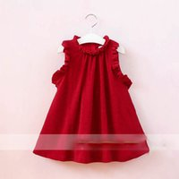Wholesale Wholesale Vintage Girls Clothing - Everweekend Girls Ruffles Red Halter Dress Western Fashion Sweet Children Clothing Vintage Korea Lovely Baby Dress